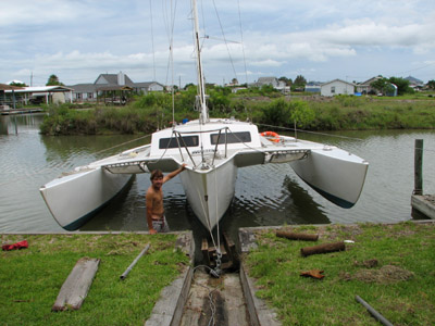 searunner 31 trimaran positioned on the haul out skid