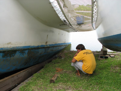 inspecting the bottom of the main hull