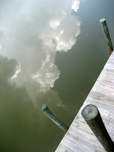 cloud reflections. Copano cove, Texas