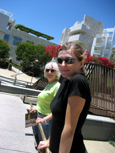 Peg and Cheyenne at the J. Paul Getty Museum. Los Angeles, California