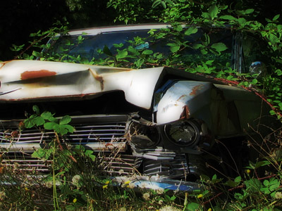 Crashed Cadillac. Portland, Oregon