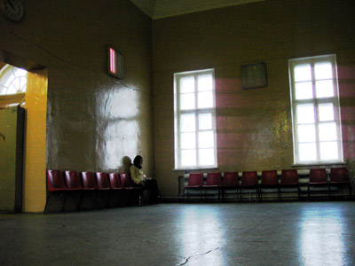 Empty waiting room at the trainstation in Kondopoga, Karelia, Russia