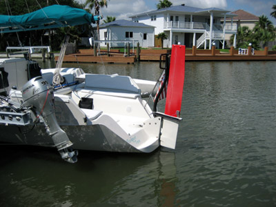 Custom 30 trimaran rudder Wing & a Prayer
