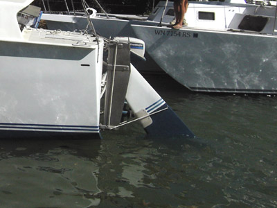 searunner 31 trimaran TimeMachine kickup rudder