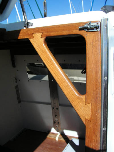 Jim Brown designed Searunner 31 trimaran Time Machine companionway detail