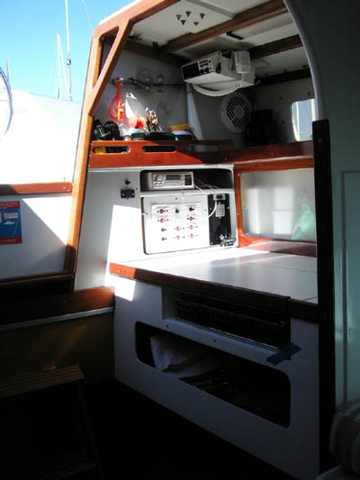Jim Brown designed Searunner 31 trimaran Time Machine galley and nav station