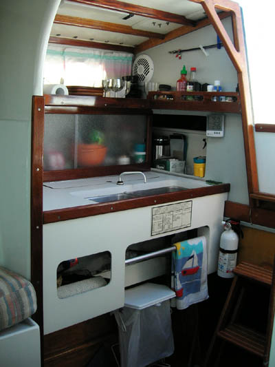 Jim Brown designed Searunner 31 trimaran Time Machine galley sink