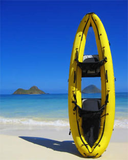 clear blue hawaii inflatable kayak