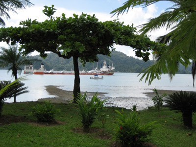 Dockwise ship anchored at Golfito, Costa Rica