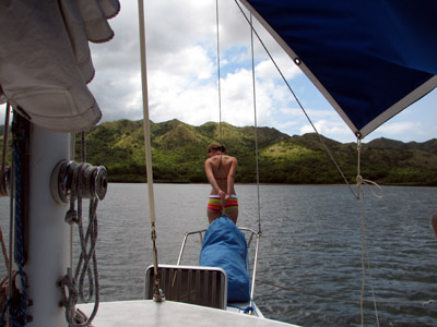 anchoring in Bahia Santa Elena, Costa Rica