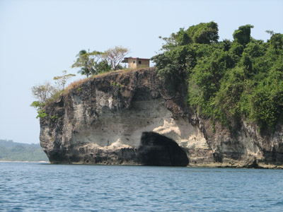 Sea Cave and Fishing Shack. Isla San Jose, Las Perlas Islands, Panama