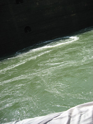 turbulent water. Miraflores Locks, Panama Canal