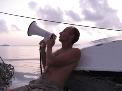Bruce serenading with a bullhorn