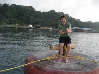 Ben on the mooring ball. Gatun Lake, Panama Canal