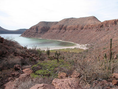 Looking down into Caleta Partida between Isla Espiritu Santo and Isla Partida Mexico