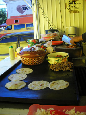 Tortillas on the grill, La Paz, Mexico