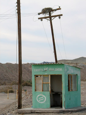 guard shack at the phosphorus mine