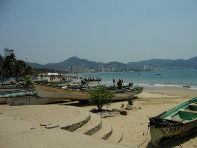 Fishing Pangas on the beach at Acapulco, Guerrero, Mexico