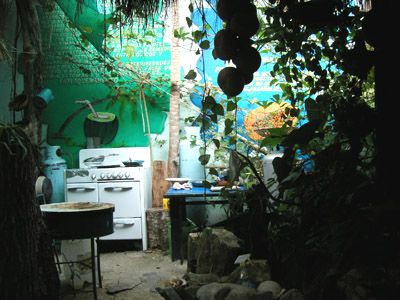 The courtyard at the Juice Bar, Huatulco, Mexico