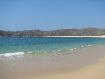 A beautiful isolated beach in the Bahias de Huatulco national park, Oaxaca, Mexico