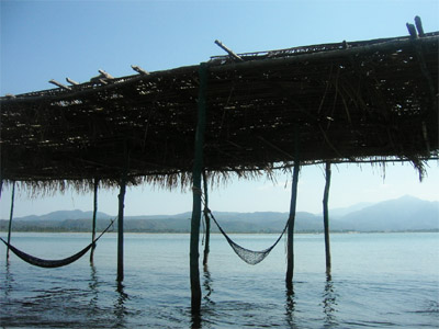 Hammocks over the water, Mantanchen Bay, San Blas, Mexico