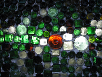 bottle wall. Tulum, Mexico