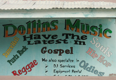 Hand Painted Sign. Dollins Music. Dangriga Town, Belize