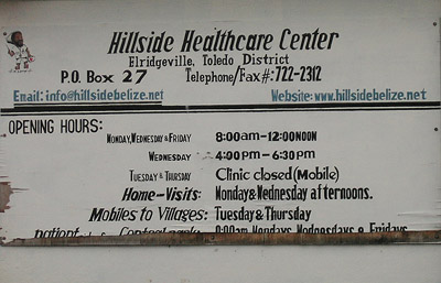 Hand painted sign. Hillside health care center. Punta Gorda, Belize