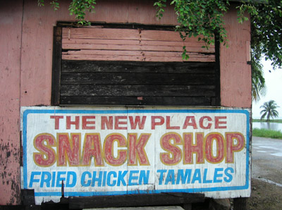 Hand Painted Sign. The new place snack shop. Dangriga Town, Belize