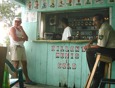 Hand painted sign. Dillon's music and cold. Punta Gorda, Belize