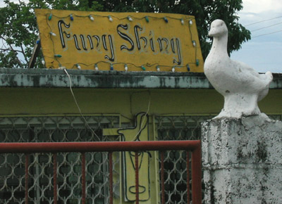 Hand painted sign. Funy Shiny. Punta Gorda, Belize