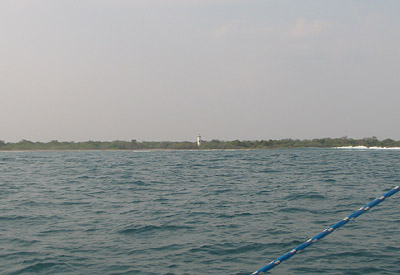 Navigational light on the beach in the Gulf of Tehuantepec, Chiapas, Mexico