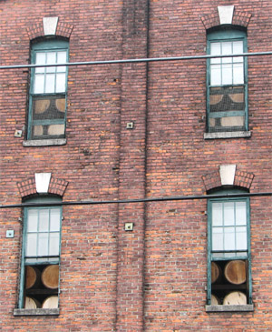 brick building full of bourbon. Buffalo Trace Distillery, Franklin, Kentucky