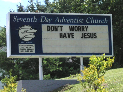 funny church sign, Maine