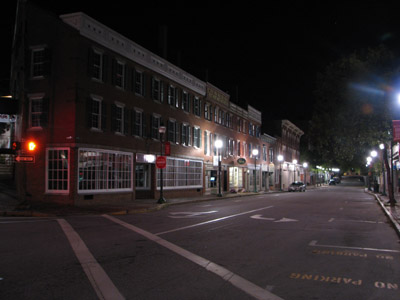 downtown Gardiner Maine at night