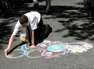 Mormon Missionary sidewalk chalk art, New York City