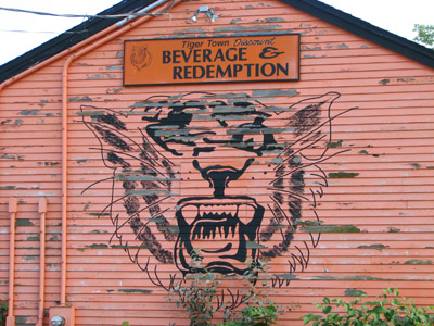 Beverage & Redemption. Funny sign. Gardiner, Maine