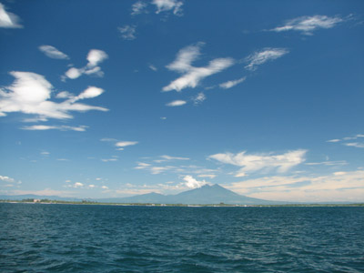 El Salvador Volcanoes from Sea