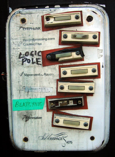 A buzzer board for upstairs apartments on lower haight, San Fransisco, California