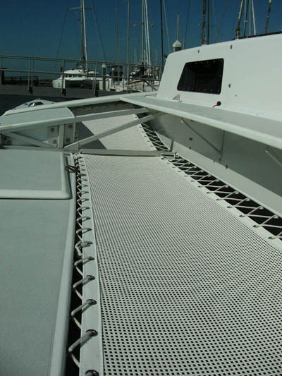view of installed custom mutihull trampolines on Searunner 31